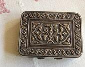 French Silver Snuff Box, Art Nouveau Metal Case, Business Card, Cigarette Case