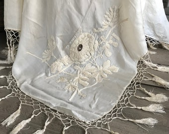 Silk Embroidery Piano Shawl, Fringed, Wedding, Bridal