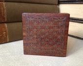 Wooden Trinket Box Gold Inlay Art Nouveau Design, Snuff Box