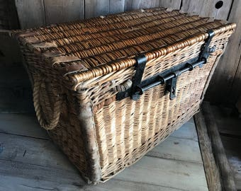 1930s Wicker Wardrobe Trunk, Large Dated English Storage Chest, Flat Top  Basket, Made In England