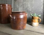 French Stoneware Crock Pot, Confit Jar, Utensils, Pickles, Artist, Flower Vase, Kitchenalia, French Farmhouse Cuisine