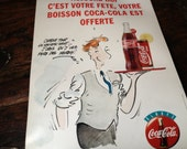 French Coca Cola Advertisement, Mid Century Coke Pop Sign Poster Mid Century Cafe Bar Unique Colorful Graphics Free Birthday Cokes