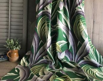 Vintage Curtain Panel  24x61x43  thin rayon satin printed with metallic gold floral scrolls  Mid Century Decorator Fabric