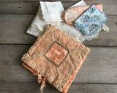 Antique Handkerchief Boudoir Case, Peach Silk, Lace, Lace Hankie Collection, Boudoir Folder, Trousseau