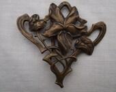 French Art Nouveau Brass Belt Buckle Artistic Design Jewelry Scarf Pin