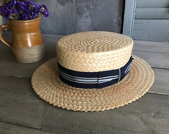 81c285d49eab16 1930s Straw Boater Hat, Striped Blue Ribbon Bow, Lundquist Lilly Brand