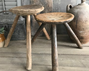 Small Antique Country Rustic Primitive Wooden Farmhouse Stool Handmade 1800-1899