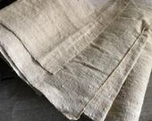 French Homespun Chanvre Linen Hemp Fabric, Hand Loomed Unused, French Farmhouse, French Textiles