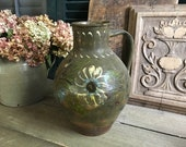 19th C French Pottery Jug, Floral Pattern, Redware, Slip Glazed Pottery Pitcher, Rustic French Farmhouse, Farm Table