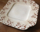 1890s English Platter Plate, Brown Floral Pottery, Dale Hall Transferware, Granite Ironstone