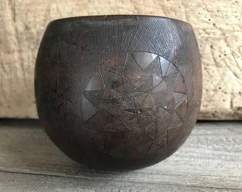 19th Century Carved Schrimshaw Coconut Cup, Sailor's Folk Art, Maritime Hand Carved Coconut Ball