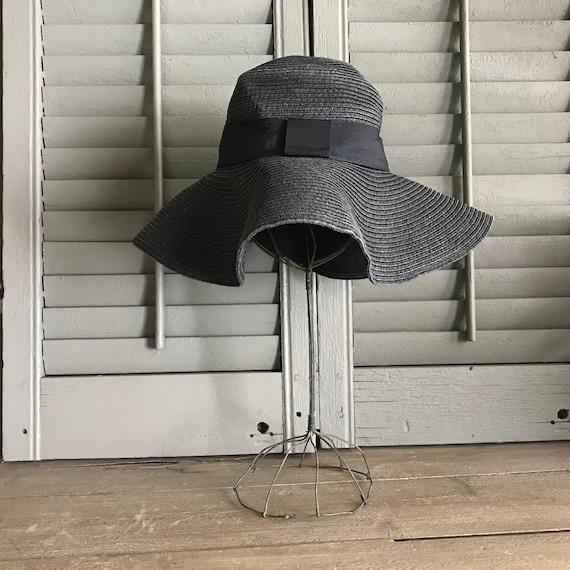 1960s Black Straw Floppy Hat, Black Ribbon Tie, Su