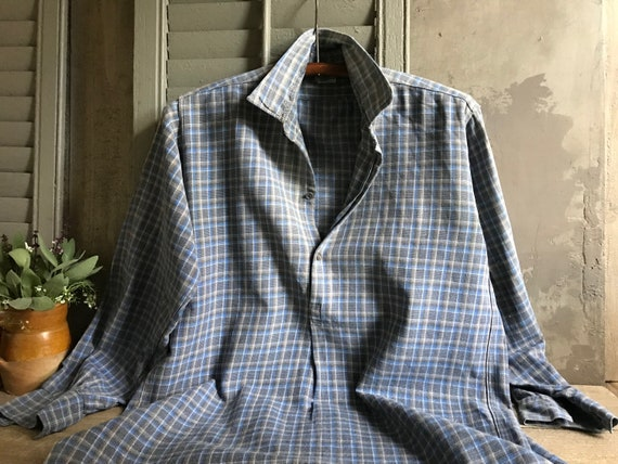 French Flannel Work Shirt, Plaid, Blue Gray, Peasa