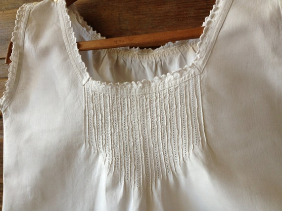 French White Linen Chemise, Nightgown, Nightdress