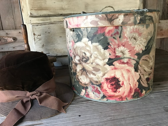 1910s Hand Blocked Floral Paper Hat Box, Large Hat