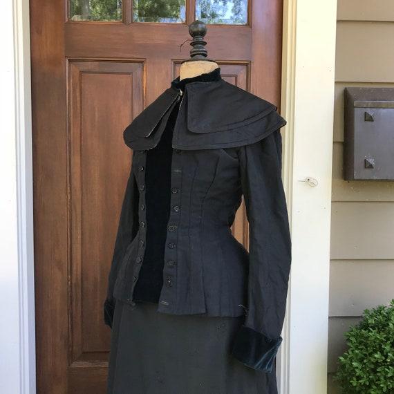 Victorian Black Cape, Silk, Cotton, Capelet, Perio