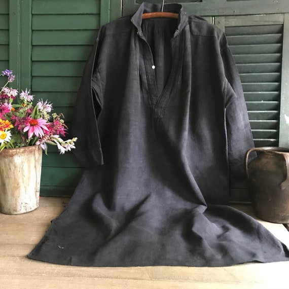 French Linen Chemise, Faded Black, Biaude, Artist… - image 2