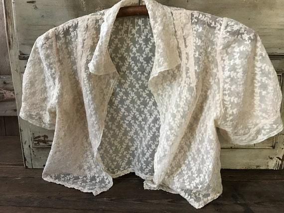 1930s Tulle Lace Bolero Jacket Blouse, Embroidered