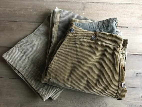 French Corduroy Trousers, Work Wear Pants, Patch R
