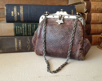 Antique French Leather Purse, Victorian Edwardian Era, Arts and Crafts Style Chestnut Brown Leather Handbag