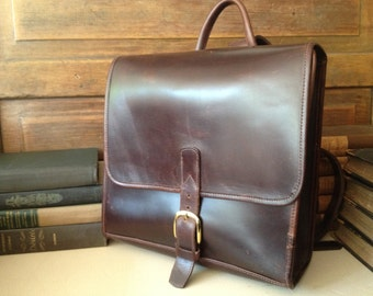 Reserved for MH Vintage Handcrafted Leather Backpack Rucksack ~ Chocolate Brown Robert Cheau ~ Solid Brass