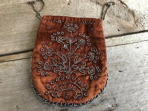 French Antique Silk Velvet Beaded Purse, Cinnamon,