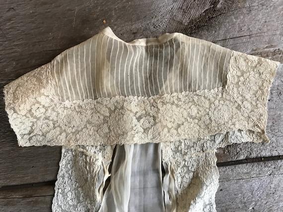 Antique French Floral Lace Blouse Front Panel, Dr… - image 4