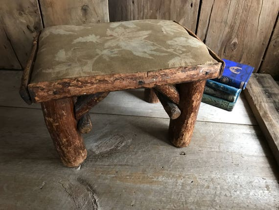 Amazing Rustic Twig Log Wood Cabin Stool Small Bench Seat Country Cottage Log Cabin Farmhouse Primitive Alphanode Cool Chair Designs And Ideas Alphanodeonline