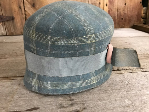 bd5817dca39 Gray Blue Wool Flapper Cloche Hat Made in England Downton
