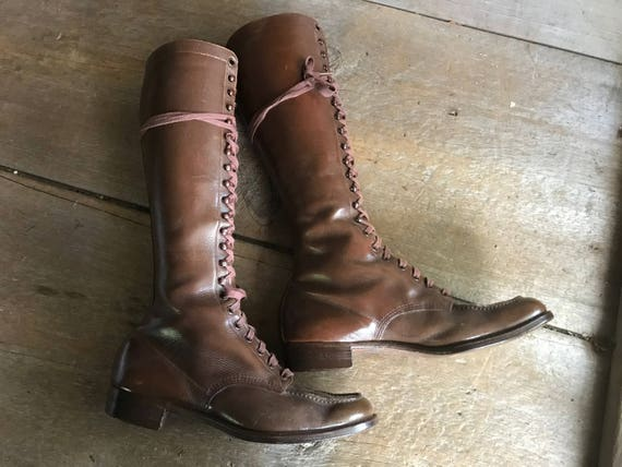 Antique Leather Boots, Lace Up, Brown, ca 1920s, S
