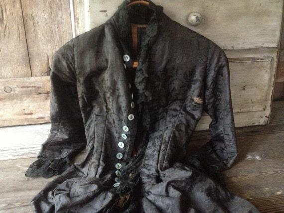Victorian Silk Damask Jacket Bustle Black Chantil… - image 5