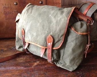 Khaki Canvas Leather Backpack Rucksack Hunting Fishing Hiking Tool Bag