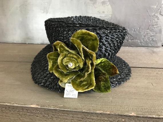 1940s Black Straw Hat, Moss Green Velvet Bow, Orig