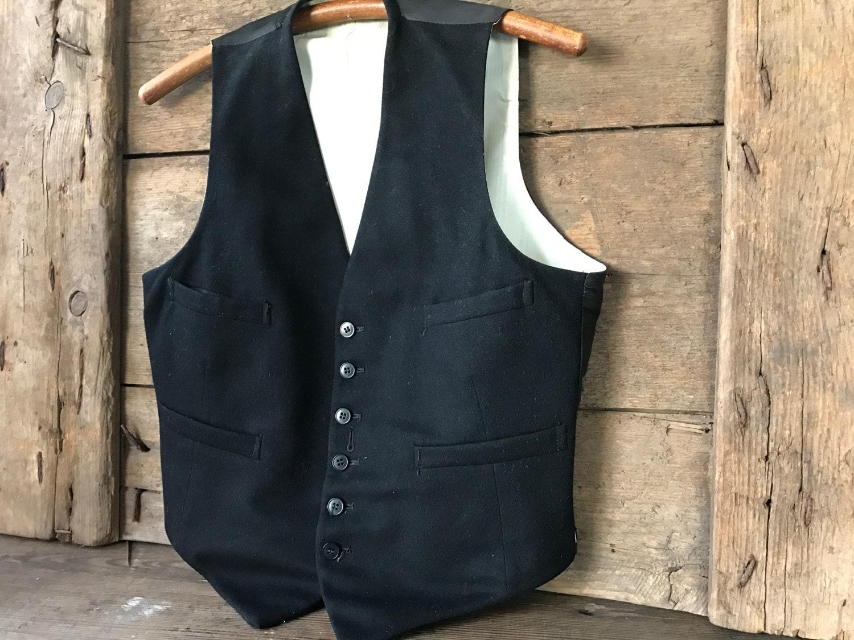 Men's 1920s Style Ties, Neck Ties & Bowties 1920S Mens Black Wool Waistcoat Button Front Silk Satin Lining $48.00 AT vintagedancer.com