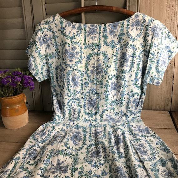 1950s Floral Cotton Dress, Day Dress, House Dress… - image 4