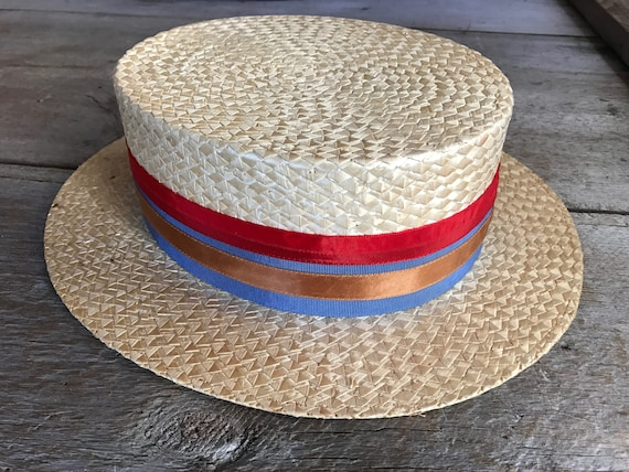 5b7638a5c8ffb Antique French 1920s Straw Boater Hat Red Blue Ribbon Bow