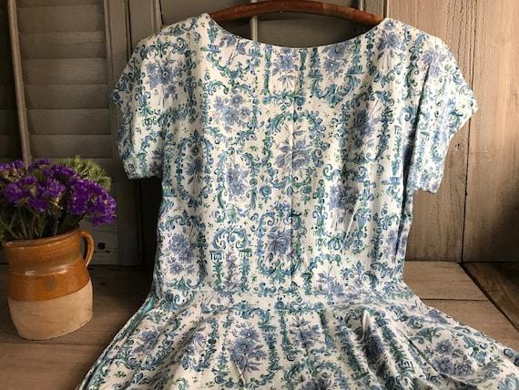 1950s Floral Cotton Dress, Day Dress, House Dress… - image 7