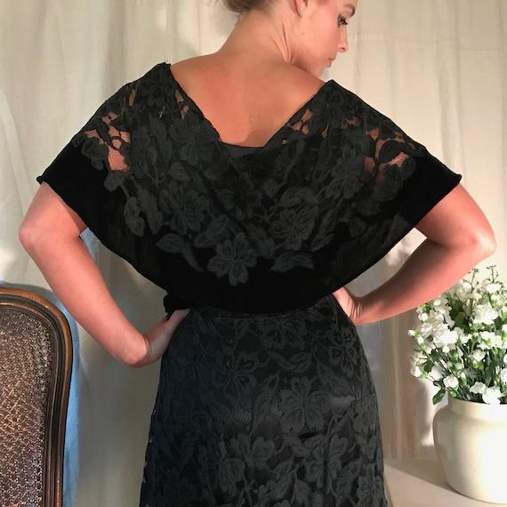 Art Deco 1930s Black Lace Velvet Dress, Floral Lac