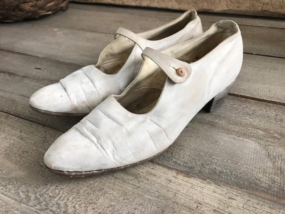 French White  Kid Leather Shoes, Mary Jane Shoes,