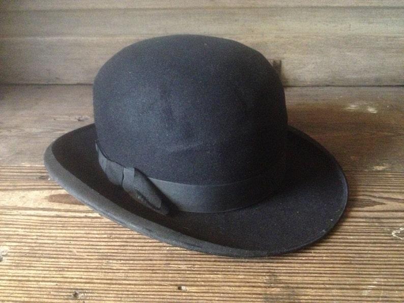 cc0b07982d148e French Black Derby Bowler Hat Felt Grosgrain Ribbon Ladies | Etsy
