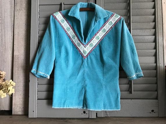Southwestern, Turquoise Corduroy Shirt, California