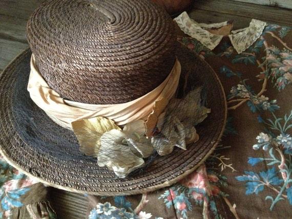 Edwardian Straw Boater Hat Antique Silk Flowers Do