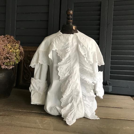 19th C Chemise Boys Ruffle Shirt Lace Hand Sewn Re