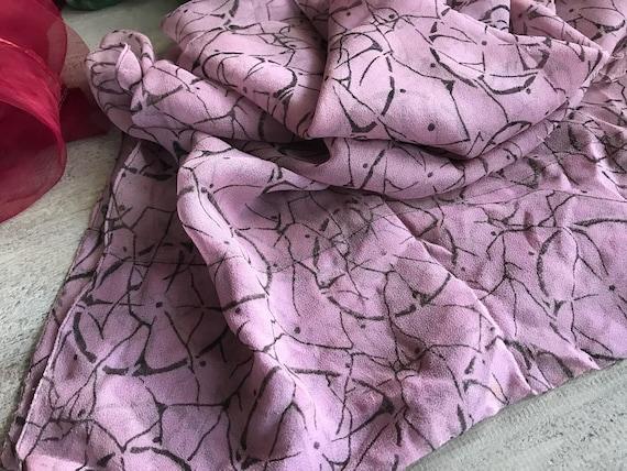 1920s Silk Chiffon Scarf, Soft Plum Colored Silk … - image 1