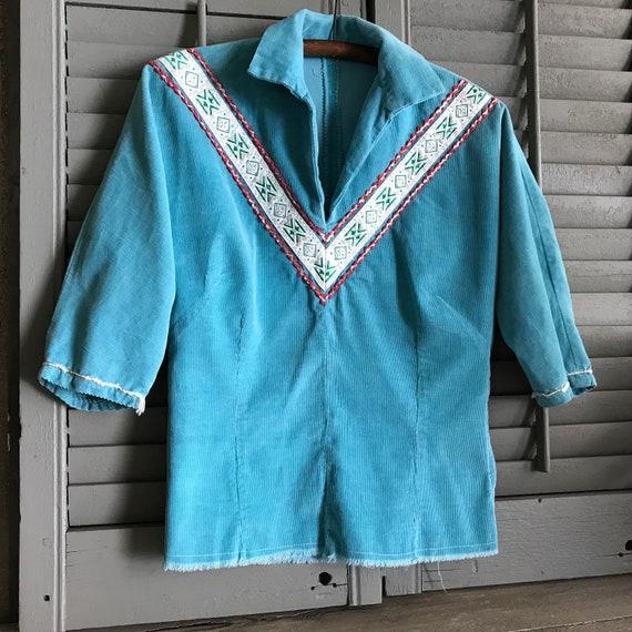 Southwestern, Turquoise Corduroy Shirt, Californi… - image 7
