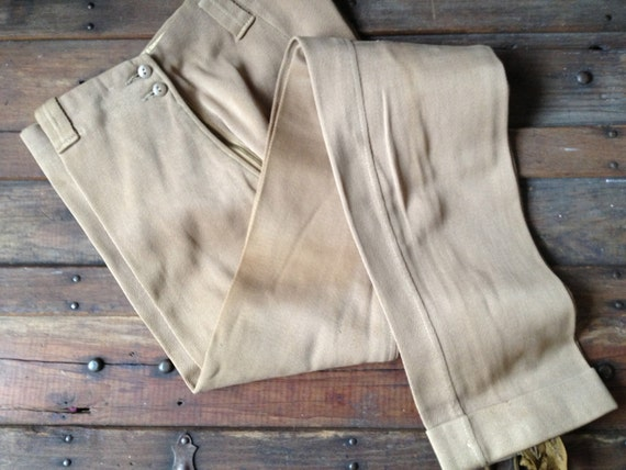 1930s 40s Camel Brown Cotton Twill Riding Jodhpurs