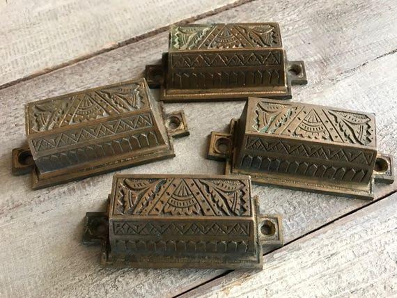 image 0 - Antique Brass Drawer Pulls Chest Handles Art Nouveau Art Etsy