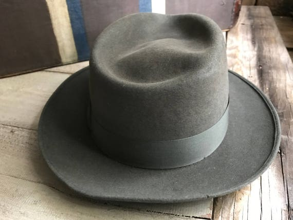 1940s French Gray Fedora Hat Felted Wool Brussels  06042199d409