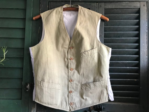 French Striped Cotton Waistcoat, Gents Striped Kha