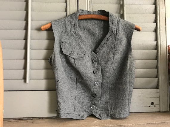 French Gray Wool Waistcoat, Vest, Dressmaker Made,